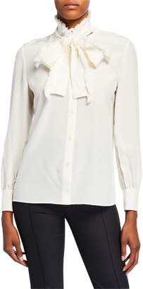 Tory Burch Fringe Bow Button-Down Blouse
