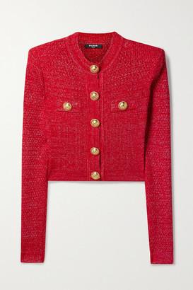 Balmain - Button-embellished Metallic Jacquard-knit Cardigan - Red