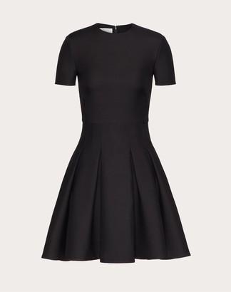 Valentino Short Crepe Couture Dress Women Black Silk 35%, Virgin Wool 65% 36