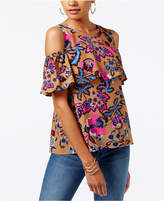 INC International Concepts Sequined Cold-Shoulder Blouse, Only at Macy's