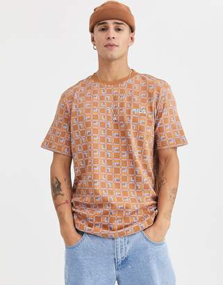 Fila Agostino all-over print t-shirt in bran-Tan