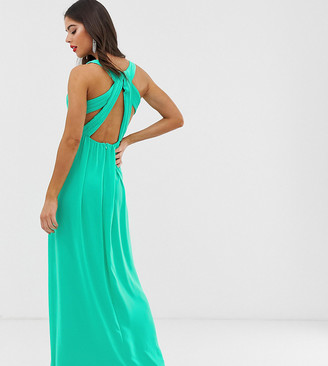 TFNC Tall Tall pleated maxi dress with back detail in green