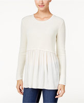 Style&Co. Style & Co Petite Mixed-Media Sweater, Only at Macy's