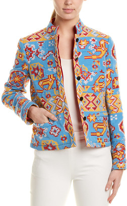 Valentino Embroidered Wool & Silk-Blend Blazer