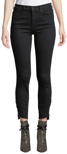 Mother The Stunner Double-Zip Step-Hem Skinny Jeans