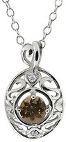 Gem Stone King 0.47 Ct Round Brown Smoky Quartz and White Diamond 14k White Gold Pendant