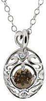 Gem Stone King 0.47 Ct Round Brown Smoky Quartz and White Diamond 18k White Gold Pendant