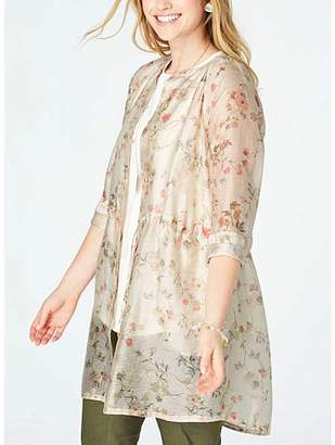 J. Jill J.Jill Women's Non-Denim Casual Jackets BARLEY - Barley Floral Sheer Linen-Blend Jacket - Women & Women's Tall