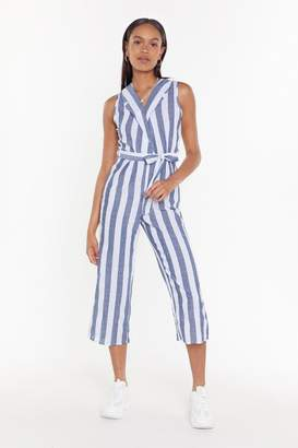 Nasty Gal Womens All the Stripe Moves Cropped Jumpsuit - grey - L