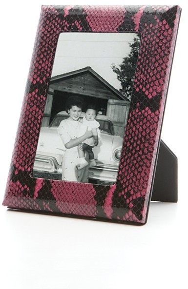 """Graphic Image Pink Python Embossed Italian Leather Frame, 5"""" x 7"""""""