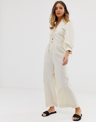 Asos Design DESIGN lace up jumpsuit with puff sleeves-Cream