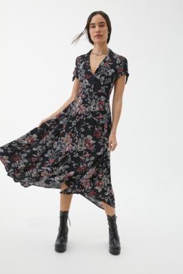 Urban Outfitters Elle Black Floral Button-Through Midi Dress - Black XS at