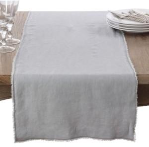 Saro Lifestyle Fringed Linen Design Stone Washed Runner