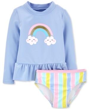 Carter's Baby Girls 2-Pc. Rainbow Rash Guard Set