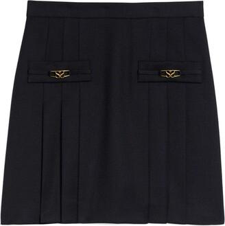 Sandro Paris Wool Pleated Mini Skirt