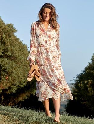 Forever New Helen Shirt Midi Dress - Vanilla Wildflower - 10