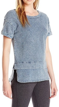 Andrew Marc Women's S/Denim Wash 2-Fer Pullover