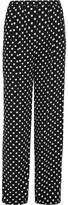 MICHAEL Michael Kors Polka-Dot Crepe Wide-Leg Pants