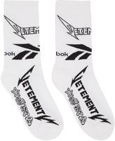 Vetements White Reebok Edition Metal Socks