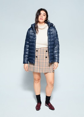 MANGO Violeta BY Detachable hood quilted coat dark navy - S - Plus sizes