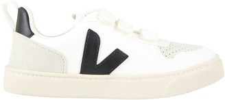 Veja White Sneakers For Kids With Black Logo