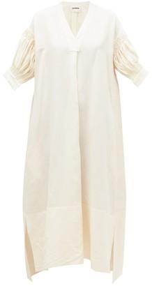 Jil Sander Pleated-sleeve Midi Dress - Womens - Ivory