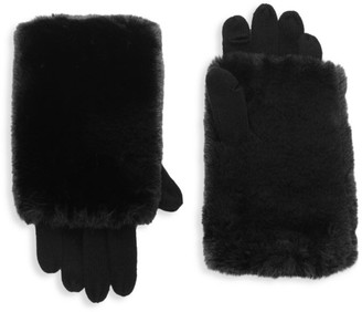 Carolina Amato Touch Tech Knit & Faux Fur Gloves