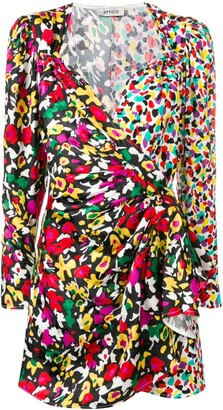 ATTICO Mixed-Print Wrap Dress