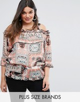 Lovedrobe Off The Shoulder Ruffle Blouse In Boho Print