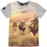 Molo Raven Running Lions Jersey Tee, Gray, Size 2-12