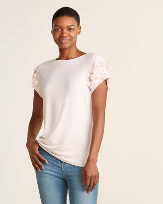 Ted Baker Floral Applique Sleeve Tee