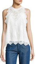 Carven Sleeveless Lace Top, White
