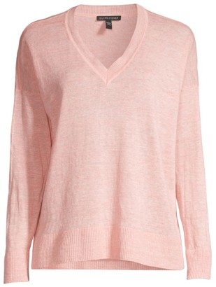 Eileen Fisher V-Neck Organic Linen Sweater