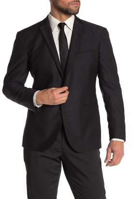 Kenneth Cole Reaction Black Jacquard Two Button Notch Lapel Performance Stretch Slim Fit Evening Jacket