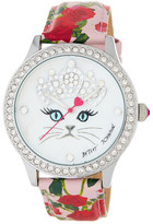 Betsey Johnson Women's Princess Cat Crystal Accented Leather Strap Watch