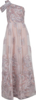 Marchesa One Shoulder Fils Coupe Gown
