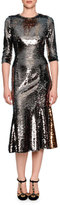 Dolce & Gabbana Sequined Half-Sleeve Midi Dress, Pewter/Gold