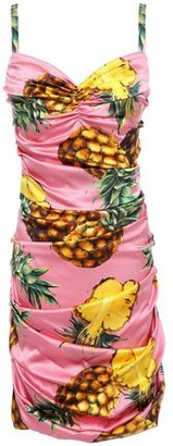 Dolce & Gabbana Ruched Stretch-silk Satin Mini Dress