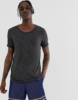 Asos Design DESIGN longline t-shirt with scoop neck and curved hem in linen mix