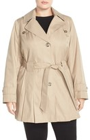 Via Spiga 'Scarpa' Single Breasted Hooded Trench Coat (Plus Size)