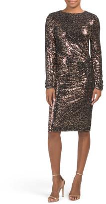 Long Sleeve Sequin Leopard Print Dress