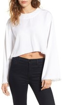 KENDALL + KYLIE Women's Frayed Twill Pullover
