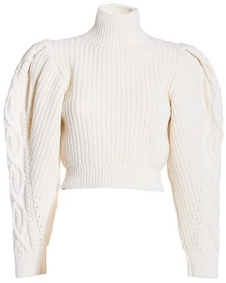 Wandering Open Back Puff-Sleeve Cropped Turtleneck