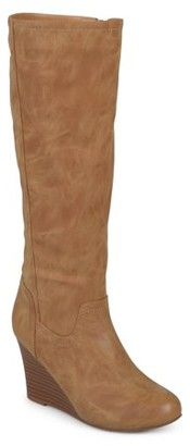 Brinley Co. Women's Wide Calf Round Toe Faux Leather Mid-calf Wedge Boots