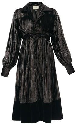 Gucci Velvet-hem Plisse-lame Dress - Black