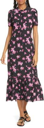 A.L.C. Dylan Floral Puff Sleeve Stretch Silk Shirtdress