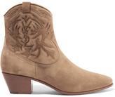 Saint Laurent Rock Stitched Suede Ankle Boots - IT37