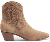 Saint Laurent Rock Stitched Suede Ankle Boots - Mushroom