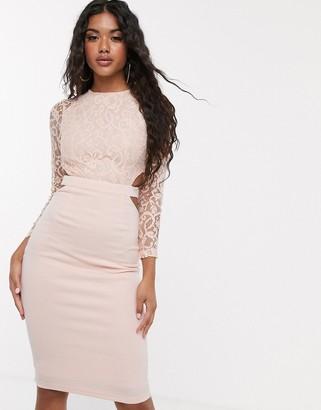Club L London lace cut out midi dress-Pink