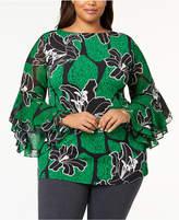 Alfani Plus Size Ruffled-Sleeve Top, Created for Macy's